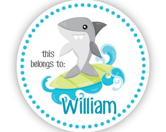 Personalized Name Label Stickers - Blue Ocean Sea Shark, Surfing Shark Name Tag Sticker Labels, This Belongs To - Back to School Name Labels