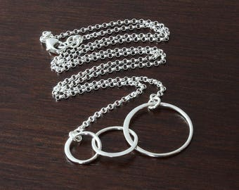 Sterling silver three circle necklace interlocking circle necklace intertwined circle necklace intertwined rings