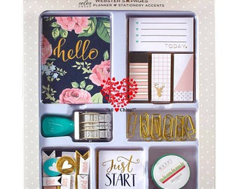 Sale! Color Crush Planner & Stationery Accents Kit - Hello Dear / Hello Today - Sticky Notes/Jornaling Cards/Roller Stamp/Paperclips/Washi