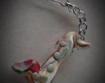 Polymer Clay Miniature Saxophone Keychain, Purse Charm, Polymer Clay Charm, One of a kind, Music teachers gift, saxophone jewelry, saxophone