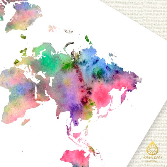 Watercolor world map download colorful abstract wall art decor watercolor world map download colorful abstract wall art decor jpg pdf travel gift poster printable pink blue digital print instant download gumiabroncs Images