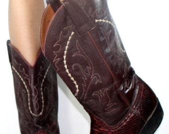 Vintage Maroon burgundy low heel cowboy mid calf womens Leather fashion boots western snake python skin womens 9.5 M B