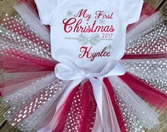 My First Christmas tutu set, Personalized First Christmas outfit, First Christmas tutu outfit, Personalized My First Christmas Name & Date