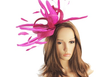 Melik Cerise Magenta Pink Fascinator Kentucky Derby or Wedding Hat With Headband (in 40 colours)