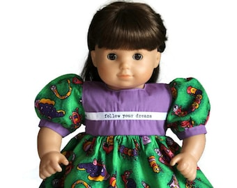 Caterpillar Doll Dress Green Purple Birthday Party Summer Spring Bitty Twin Baby 14 to 16 inch Clothes --US Shipping Included