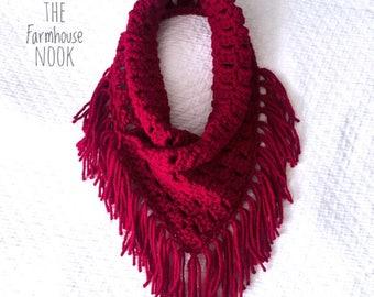 Fringe Cowl, Winter Scarf, Fringe Scarf, Neck Warmer, Crochet Cowl, Crochet Scarf, Boho Scarf