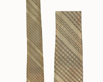 Vintage Tie, Skinny Tie, Narrow Tie, 1960's,Beige Plaid,Rogax Regax