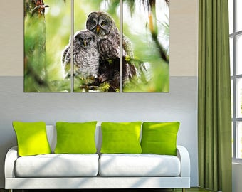 Couple of Owls Wall decor Canvas wall art Canvas Art Home decor home canvas decor Wall Art Canvas Housewarming gift Wedding gift Night Owl