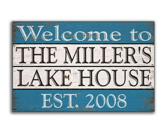 Lake House wood sign wooden personalized custom handmade Welcome sign cabin sign decor cottage wall decor signs plaque