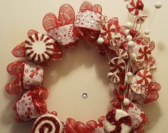 Peppermint-Candy-Wreath-Deco-Mesh-Hand-Crafted