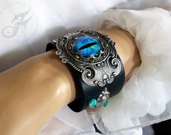 Gothic Steampunk BLUE Evil Eye Cuff ~ Black Leather & Silver Plated Brass ~ Two Snap Adjustable Leather Cuff, Fits 6 to 8 Inch Wrist #B0174