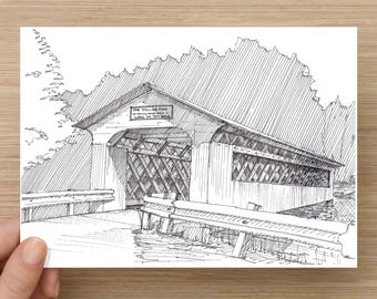Ink Drawing of wooden covered bridge in Vermont - Historic, Bridge, Landscape, Sketch, 5x7 Print, Art, Drawing, Illustration, Pen and Ink