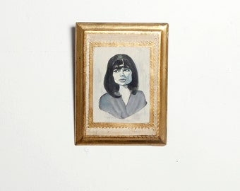 "ORIGINAL ""Astrud Gilberto"" Painting -- Acrylic on Etched Wood Plaque  --  Singer Bossa Nova Legend -- Grayscale Brazilian Portrait -- 6""x8"""