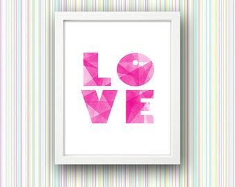 Watercolour Love PRINTABLE Wall Art Typography Colourful Watercolor Pink Modern Gift Mother's Day Digital Download Instant Poster Print