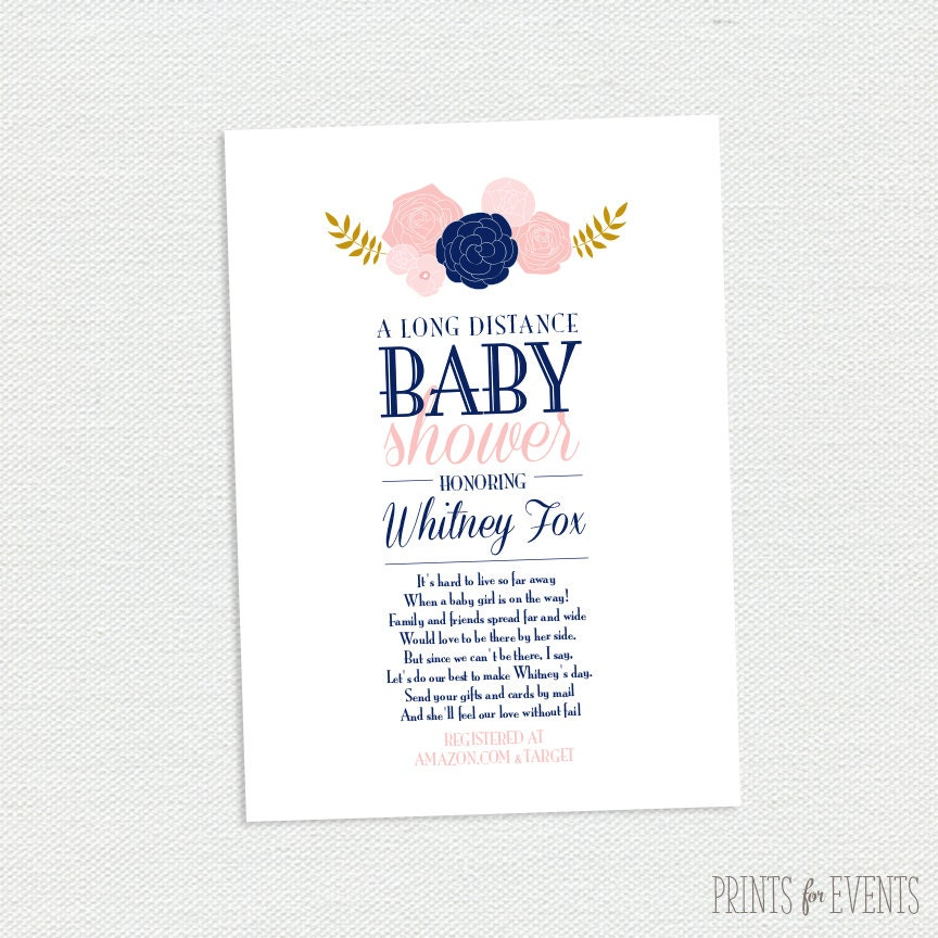 Long Distance Baby Shower Invitation Vintage Floral