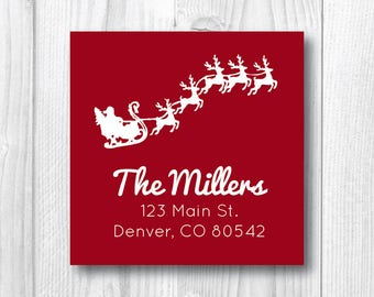 Christmas Address Labels Personalized Holiday Address Labels Return Address Labels Christmas Sticker Flying Red Santa Label Sleigh Reindeer