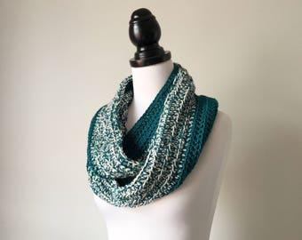Ready to Ship - Handmade Crochet Alpaca and Silk Chunky Circular Infinity Scarf