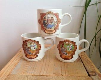 Vintage coffee mugs, Villeroy and Boch retro mugs, seventies, decorated Dutch mugs, ceramic coffee cups