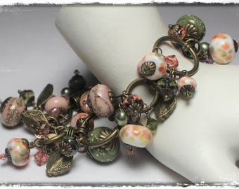 Handmade Jewelry, Bracelet, Beaded, Lampwork, Crystal, Pearls, Chain, Sage, Olive, Green, Pink, Peach, Antique Brass, Cha Cha Bracelet