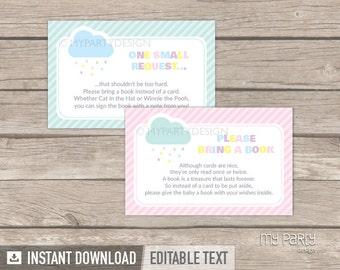 Bring a Book Card - Cloud Baby Shower - Baby Sprinkle - Gender Neutral - INSTANT DOWNLOAD - Printable PDF with Editable Text
