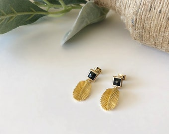 Gold Leaf Earrings with Black Glass Posts/925 Sterling Silver Post/Banana Leaf Earrings/Black Earrings/Gift For Her/Birthday Gift/Spring