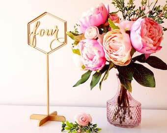 Wedding table numbers. Gold freestanding numbers.
