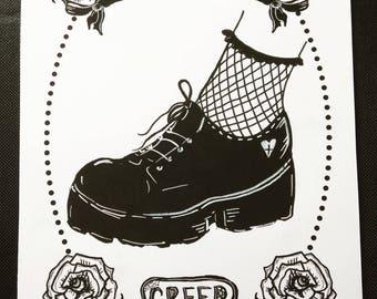 Black & White Goth Brogue, Creep , Art Print