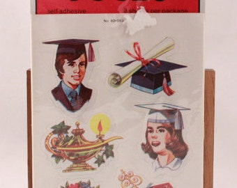 Vintage Dennison Graduation Stickers. 8 Sheet Sealed Sticker Package.
