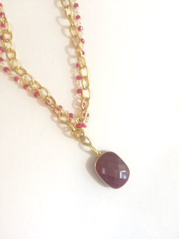 """Ruby Pendant Gold Necklace and Ruby Beaded Chain Necklace with Large RUBY Bezel Octagon Pendant, 38"""" Total Length"""