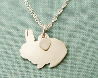 Bunny Rabbit Necklace, Sterling Silver Personalize Pendant, Netherland Dwarf Silhouette Charm, Resue Shelter