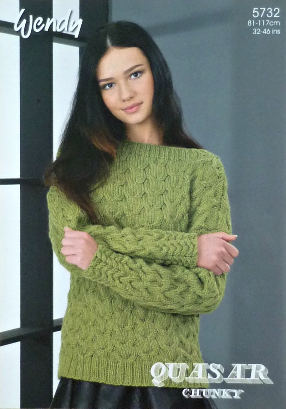 Womens Knitting Pattern W5732 Ladies Long Sleeve Cable Jumper ...