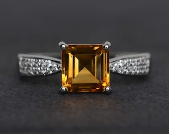 square cut citrine ring yellow stone ring yellow crystal ring November birthstone ring silver wedding engagement rings
