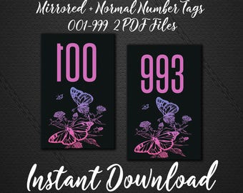 Facebook Live Number - 1-999 Periscope Live Sale Numbers - INSTANT DOWNLOAD - Numbered Cards-Live Sale-Ready To Print Mirrored Numbers