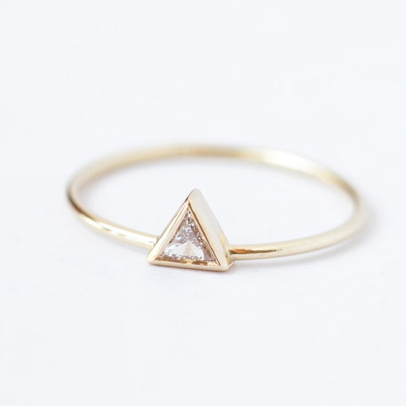Diamond Engagement Ring Triangle Trillion Simple Modern Gold