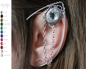 silvered elven ear  - ear cuff - elvish earring - elf ear- statement jewelry- statement jewelry