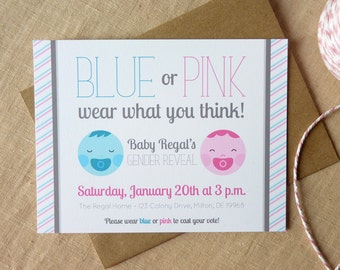 Gender Reveal Invitation / Custom Invitation / Gender Reveal Party