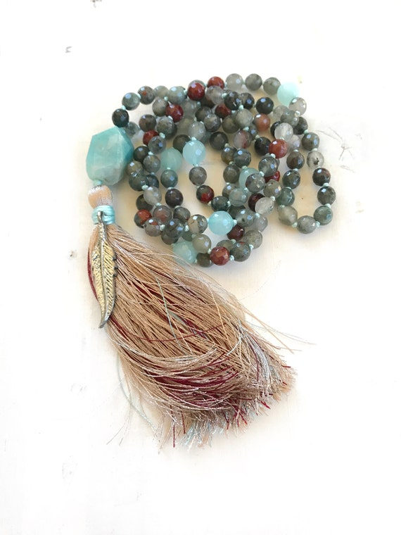 Bloodstone Mala Beads, Root Chakra Mala, Muladhara Mala Necklace, Yoga Meditation Beads, Chakra Healing, Amazonite Guru Bead Mala