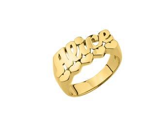 Half Round Name Ring (10mm) - Name Ring Custom Name Ring Baby Name Ring Pinky Ring Personalized Name Ring Handmade USA - 925 Sterling Silver