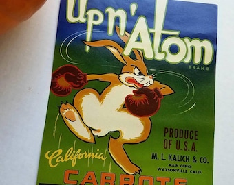 Vintage Up n' Atom California Carrots crate label. Authentic. M.L. Kalich & Co. Vintage ads. Food ephemera. Lithography.