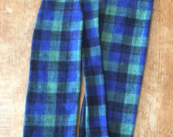 Blue and Green Plaid Flannel Stock Tie