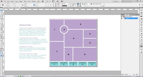 InDesign Photoshop templates 5 templates for mood boards