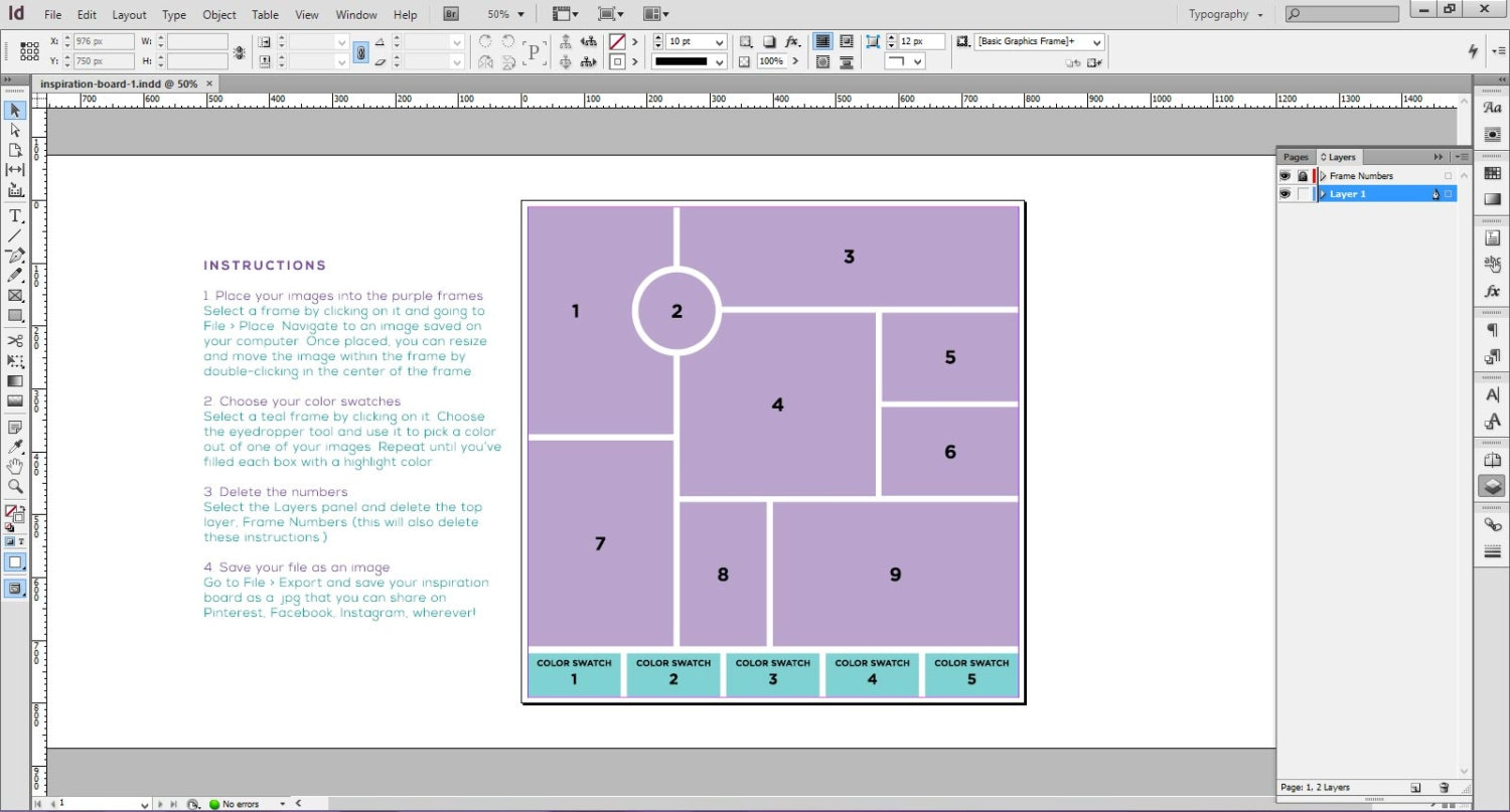 5 InDesign templates for mood board / inspiration board for logo ...