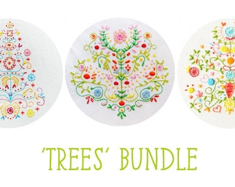 Pattern Bundle: Tree of Life, Tree of Love and Tree of Joy embroidery patterns PDF