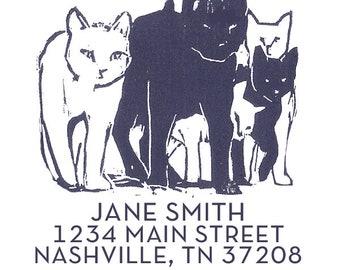 cat return address stamp, custom address stamp, cat stamps, cat lover gifts