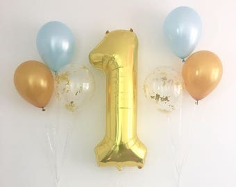 Jumbo Number One Gold Balloon Light Blue Gold Gold Confetti Latex Balloons Blue and Gold First Birthday Number One Gold Balloon Boy Party