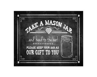 Mason Jar Favor Printable wedding sign  - instant download digital file - Rustic Chalkboard Collection