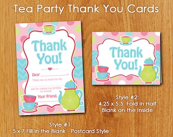 Pink Tea Party Thank You Cards - Instant Download