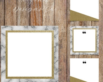 Marble and Gold Glitter Instagram Quotes Template Pack | Instaquotes, Social Media Design, Social Branding | Instant Download