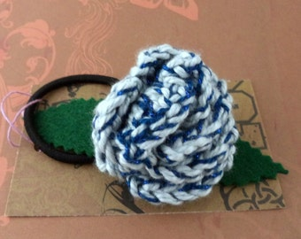 Crocheted Rose Ponytail Holder or Bracelet - Sparkly Blues (SWG-HP-ZZ12)