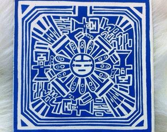 Navajo Sandpainting Linocut Hand Printed on Recycled Card